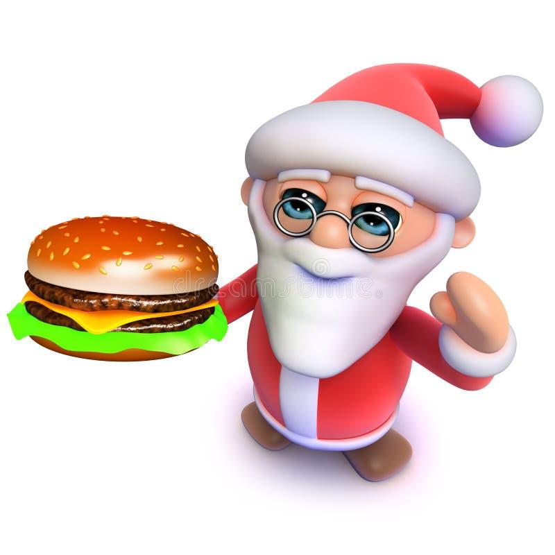 3d Grappige beeldverhaalkerstmis Santa Claus die een maaltijd van de het snelle voedselsnack van de kaashamburger eten vector illustratie