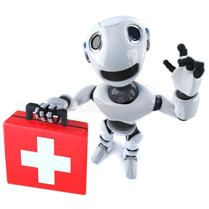 3d Grappige karakter die van de beeldverhaalrobot een eerste hulpuitrusting houden royalty-vrije illustratie