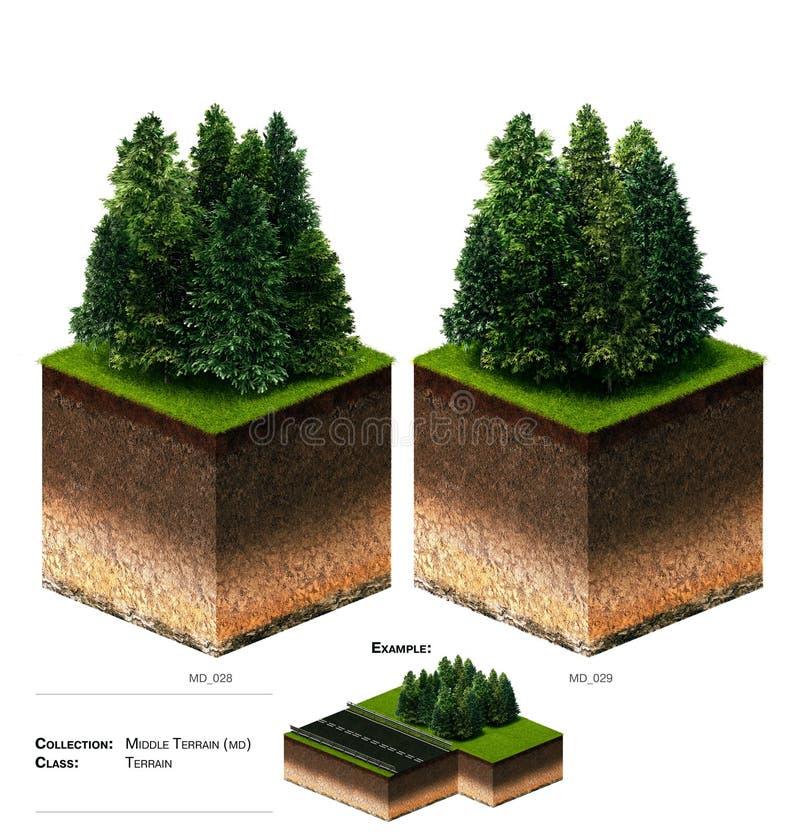3D gras van het landschapsblok stock afbeeldingen