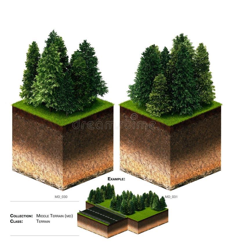 3D gras van het landschapsblok royalty-vrije stock foto