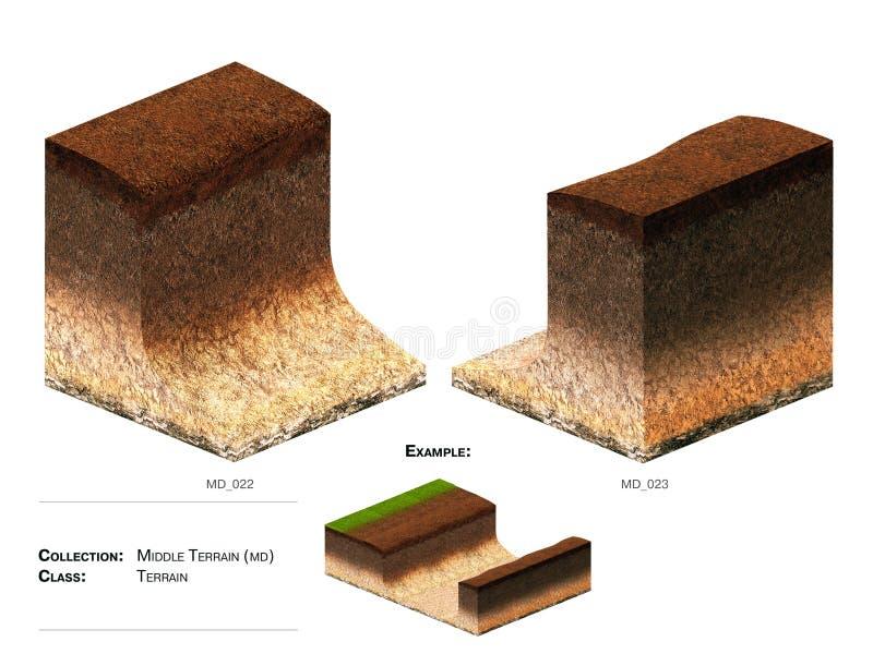 3D gras van het landschapsblok stock fotografie