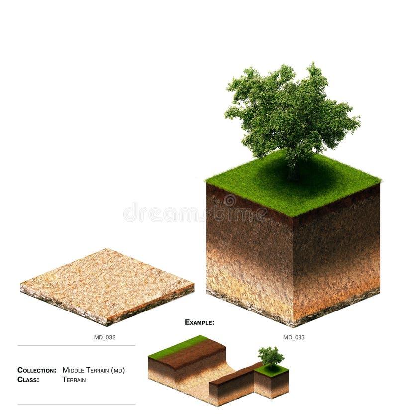 3D gras van het landschapsblok stock afbeelding