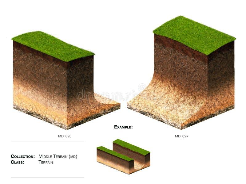 3D gras van het landschapsblok stock foto's