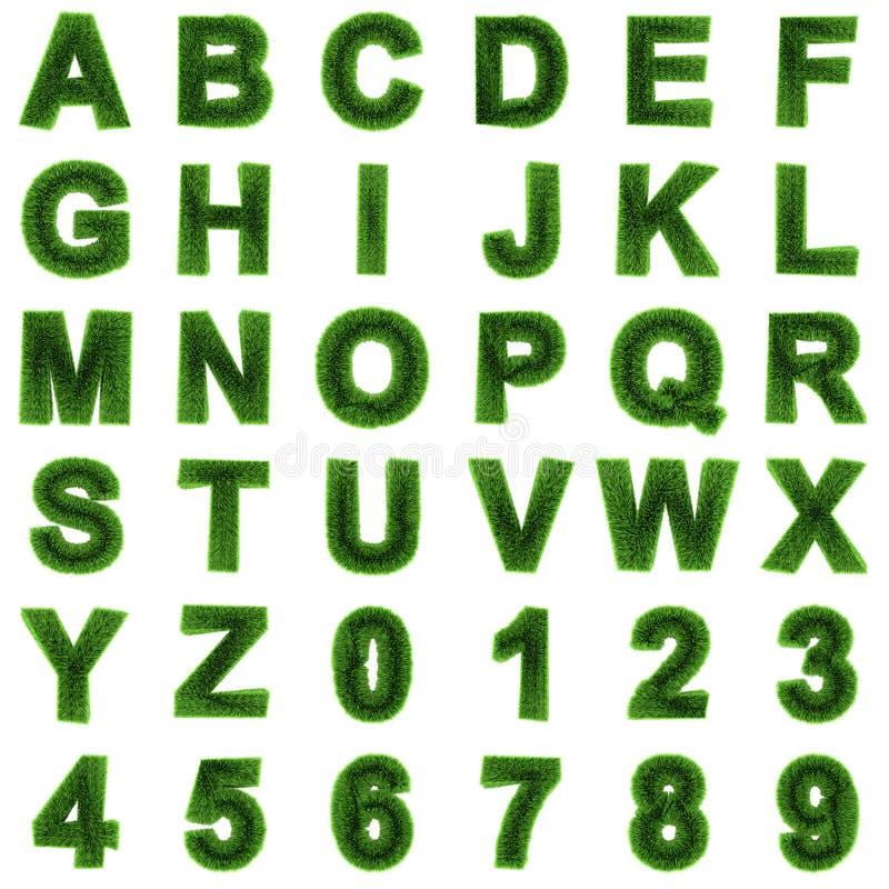 3d Grasletters en getallen stock illustratie