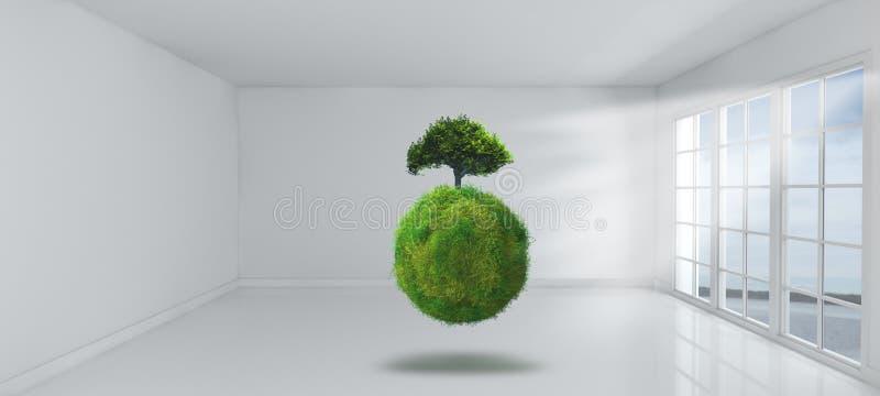3D grasrijke bol en boom in lege ruimte met vensters royalty-vrije illustratie