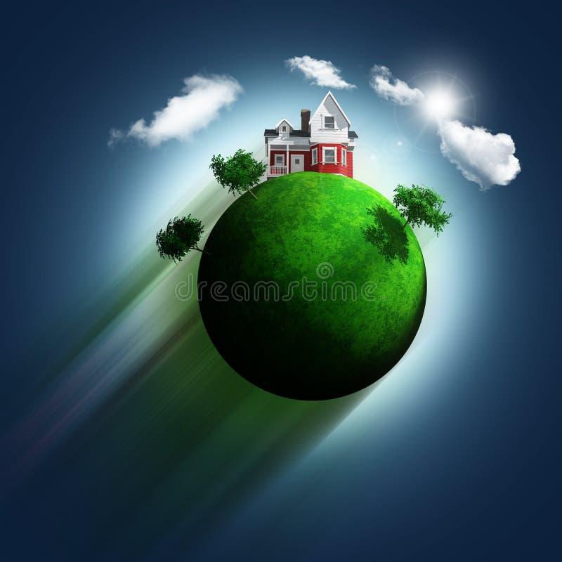 3D grasrijke bol met huis en bomen op een blauwe hemelachtergrond royalty-vrije illustratie