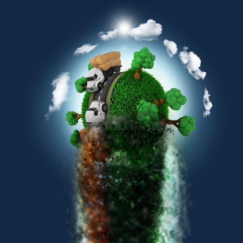 3D grasrijke bol met vrachtwagens en bomen die door een blauwe hemel zoemen royalty-vrije illustratie