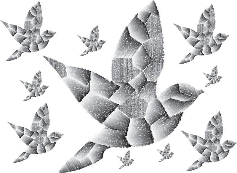 3D Gray Birds flyga tillsammans stock illustrationer