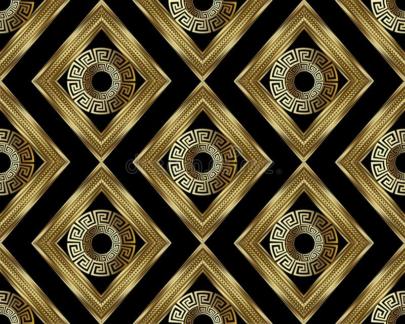 3d Greek key meander gold seamless pattern. Vector abstract geom. Etric background. Vintage ancient greek ornament with rhombus, circles, frames, . Surface stock illustration