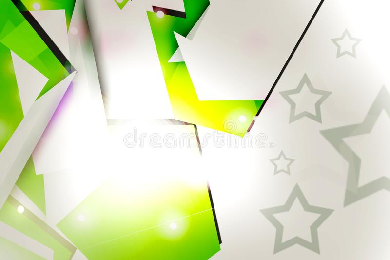 3d green geometric shape overlap with stars abstract background. Creative background stock illustration