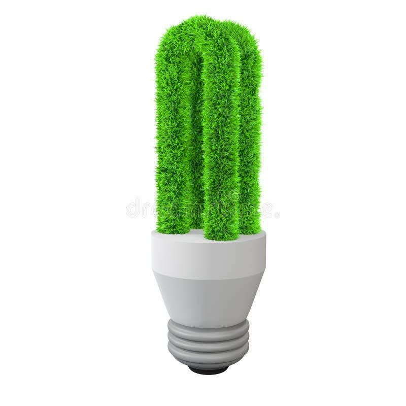 3d green grass fluorescent light bulb stock images