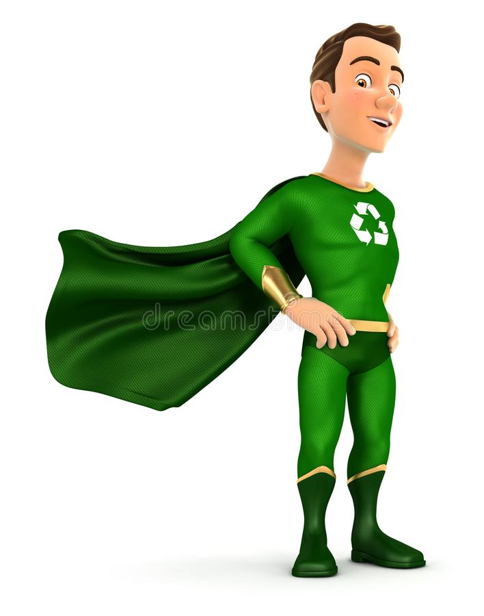 3d green hero standing with cape in the wind. Illustration with isolated white background stock illustration