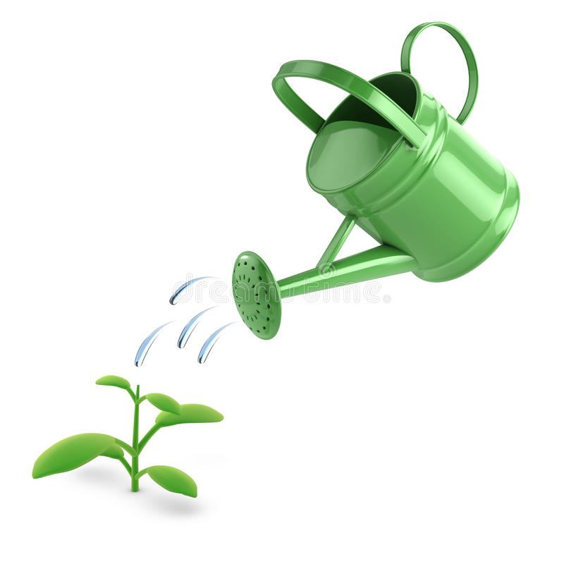 3d green watering can and seedling stock illustration