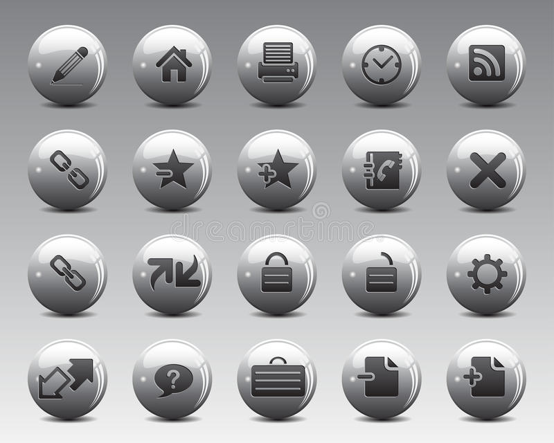 3d Grey Balls Stock Vector web and office icons in high resolution. royalty free illustration