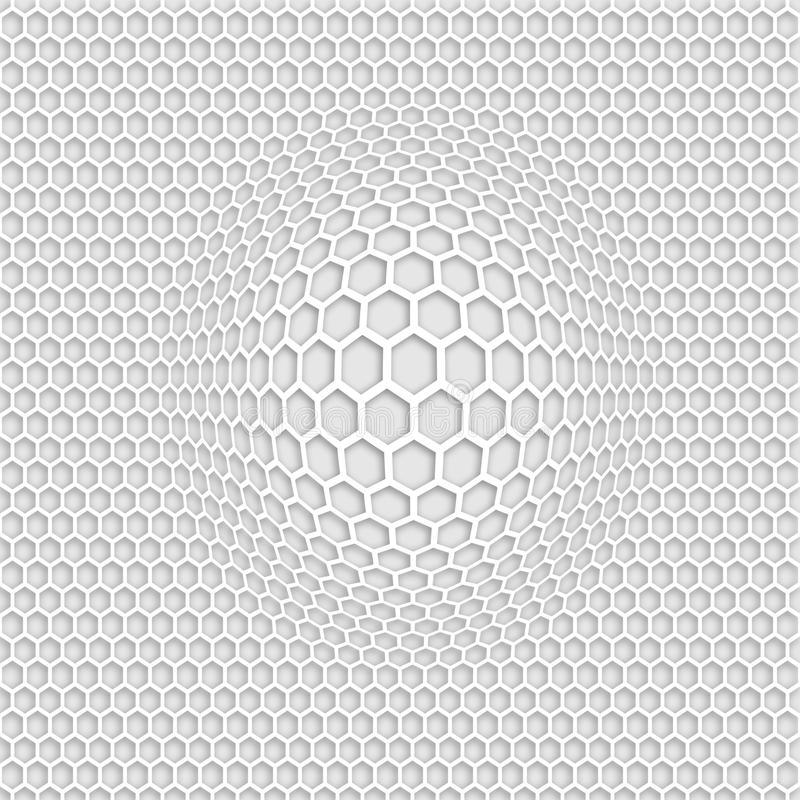 3D grey honey comb seamless pattern with zoom effect stock illustration