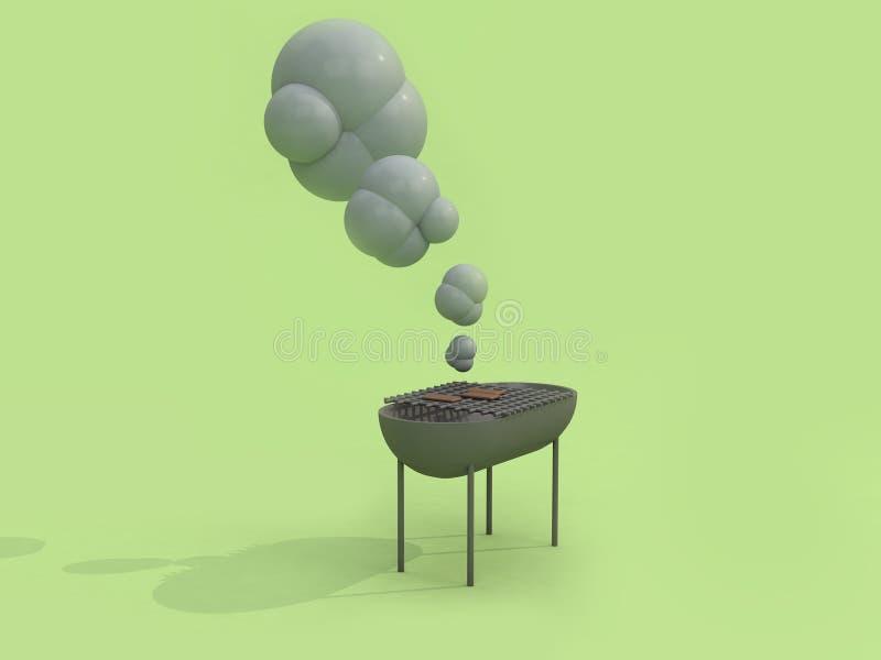 3d grilla grilla kreskówki styl 3d odpłaca się zielonego tło royalty ilustracja