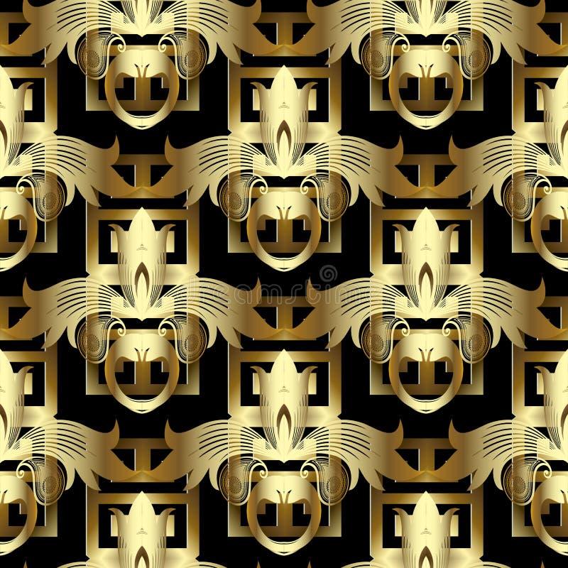 3d grka złocistego kwiecistego klucza bezszwowy wzór Rocznika wektoru backgr ilustracja wektor