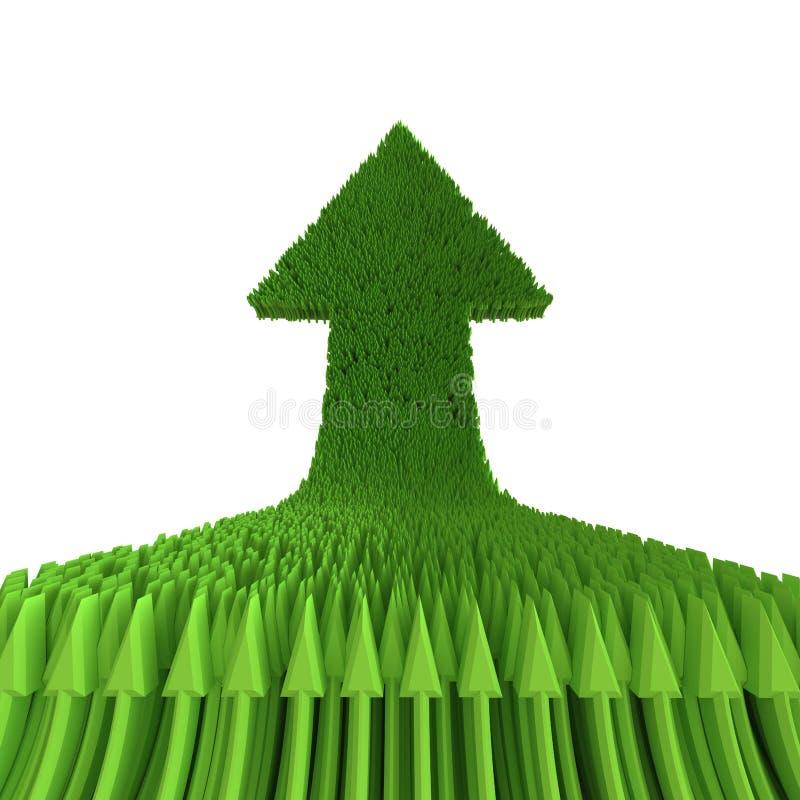 3d Groene Die Pijl Op Witte Achtergrond Wordt Geïsoleerd Royalty-vrije Stock Afbeeldingen