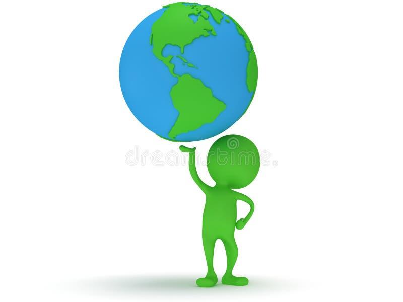 3d groene mensentribune met de bol van de aardeplaneet stock illustratie