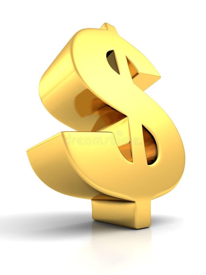 3D groot gouden gebogen dollarteken op witte achtergrond stock illustratie