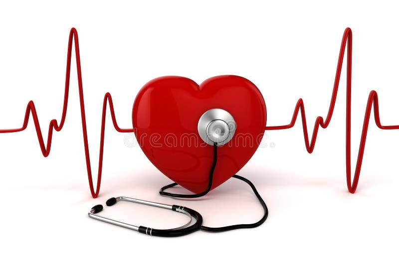 3d groot rood hart royalty-vrije illustratie