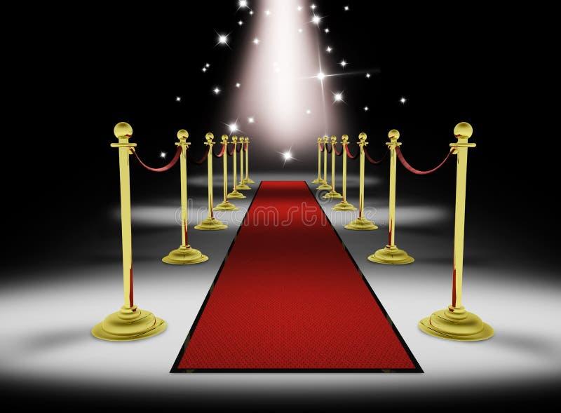 3d: Groot Rood Tapijt Entrace met Sterren royalty-vrije illustratie