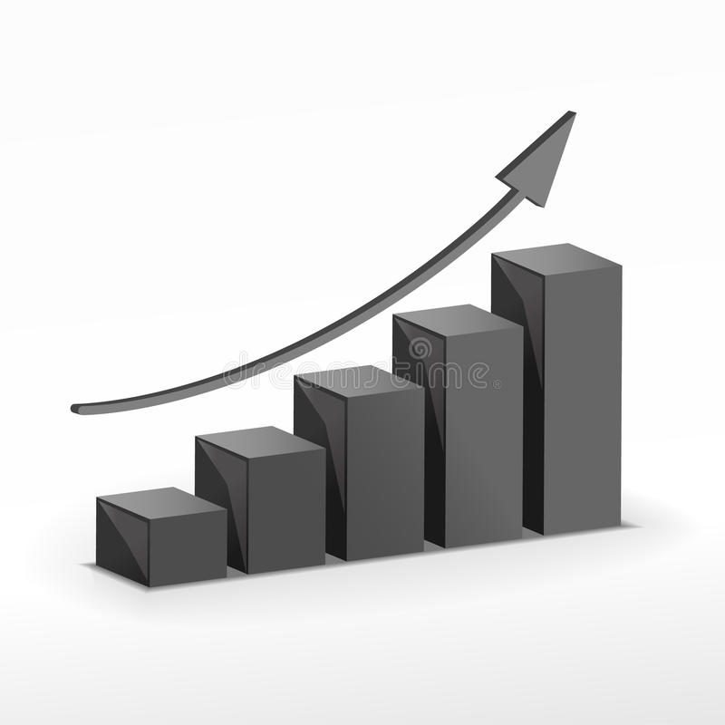 3D Growth bar graph. Vector royalty free illustration