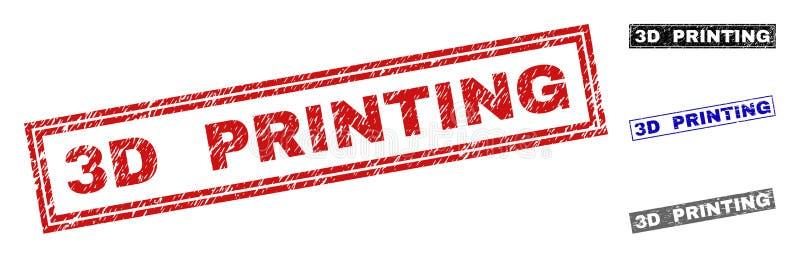 3D grunge IMPRIMANT les filigranes texturisés de rectangle illustration stock