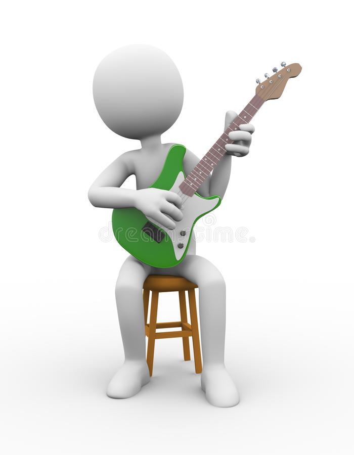 Download 3d Guitarist On Stool Playing Electric Guitar Stock Illustration - Image 89240317  sc 1 st  Dreamstime.com & 3d Guitarist On Stool Playing Electric Guitar Stock Illustration ... islam-shia.org