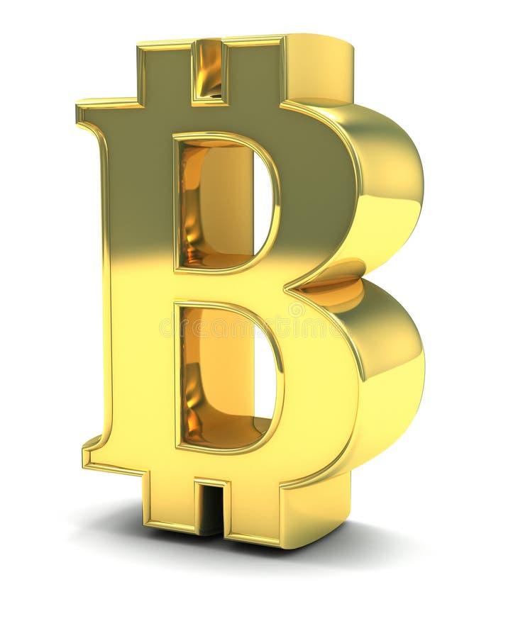 3D guld- Bitcoin som isoleras på vit