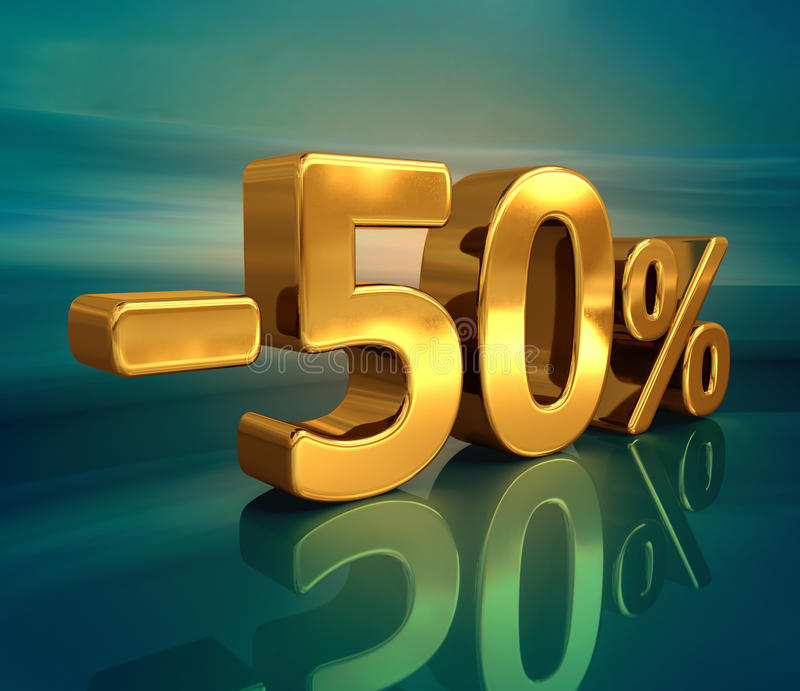 3d guld -50%, negativ femtio procent rabatttecken stock illustrationer
