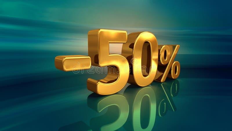 3d guld -50%, negativ femtio procent rabatttecken royaltyfri illustrationer