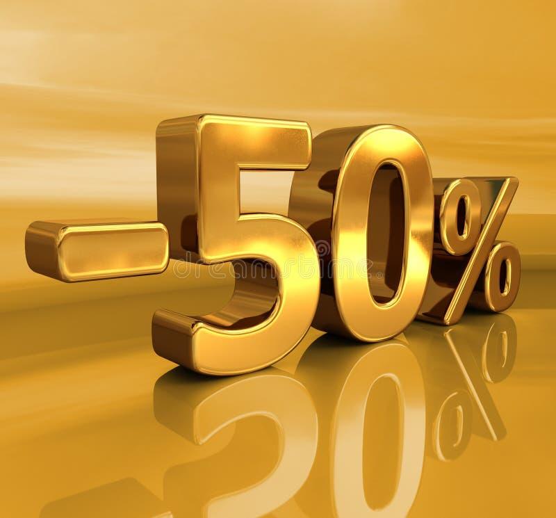 3d guld -50%, negativ femtio procent rabatttecken stock illustrationer