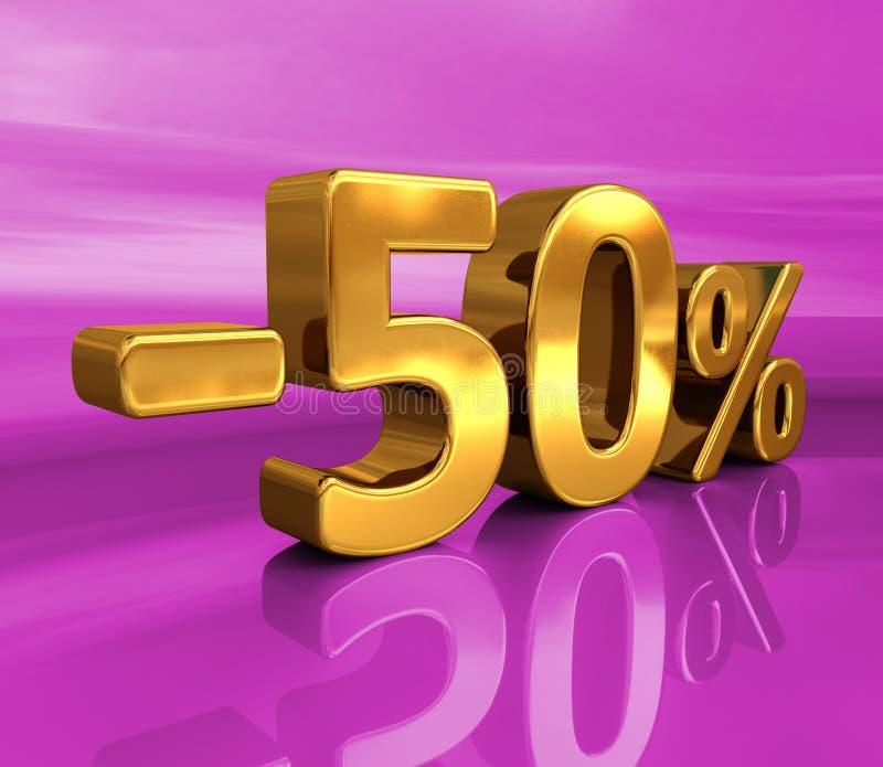 3d guld -50%, negativ femtio procent rabatttecken vektor illustrationer