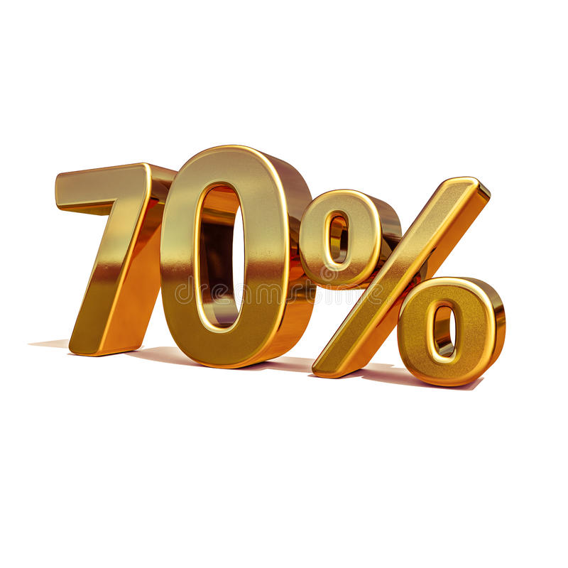 3d guld 70 sjuttio procent rabatttecken royaltyfri illustrationer