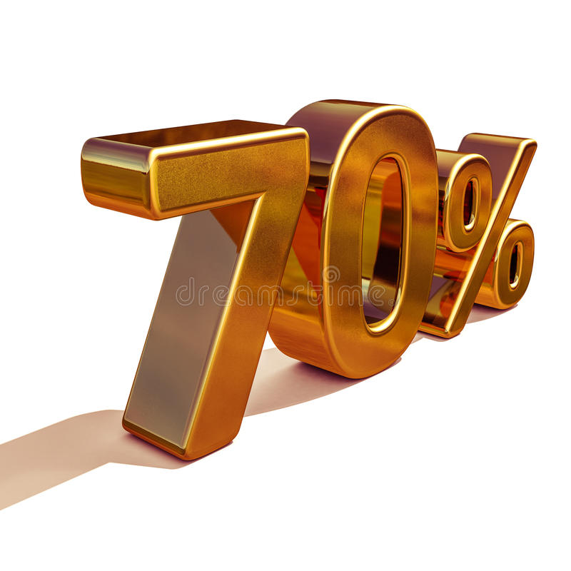 3d guld 70 sjuttio procent rabatttecken vektor illustrationer