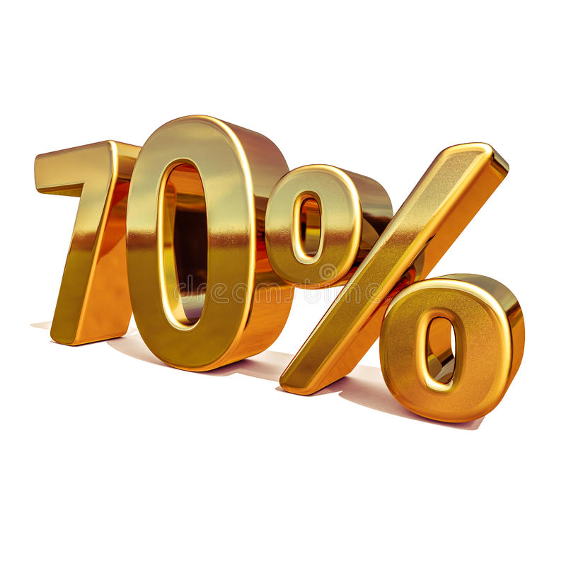 3d guld 70 sjuttio procent rabatttecken stock illustrationer