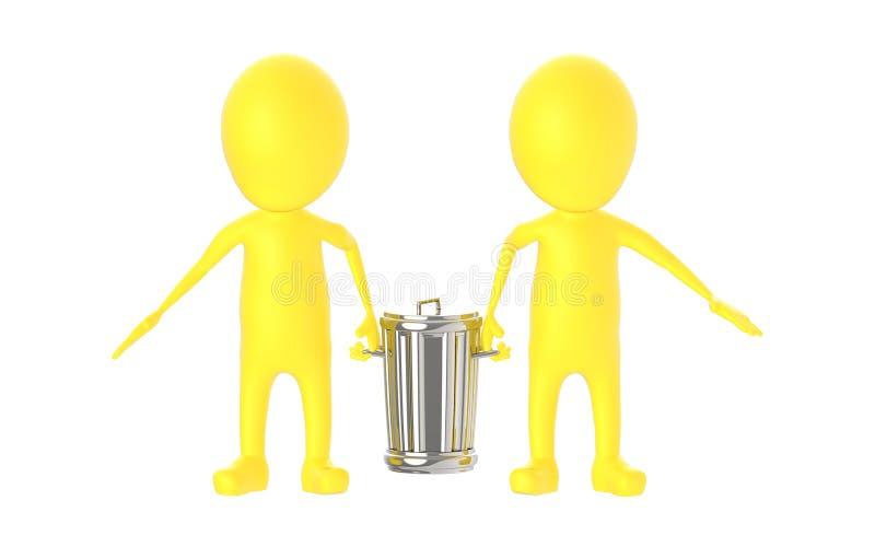 3d gulnar teckenet - att bära för två tecken återanvänder facket stock illustrationer