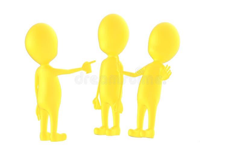 3d gulnar teckenet, chacater som ut ut poiting en dem två stock illustrationer