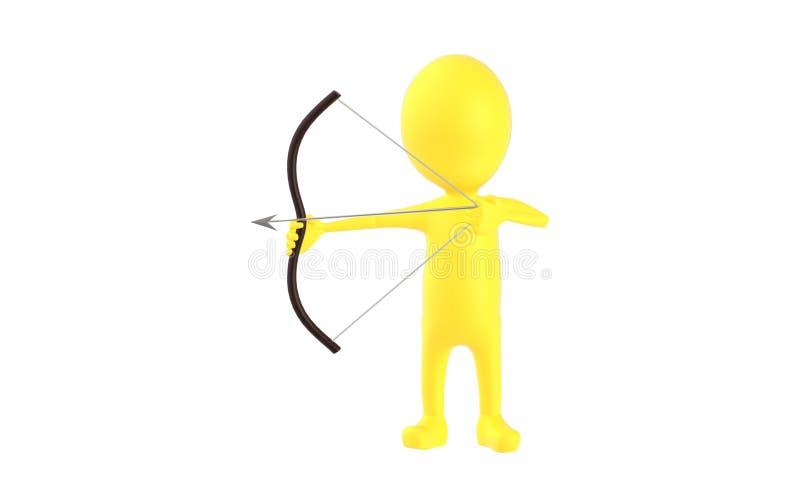 3d gulnar teckenet som siktar hans pil i pilbågen stock illustrationer