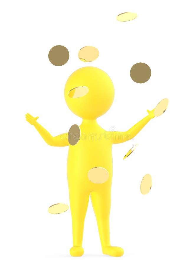 3d gulnar teckenet som står, och lyfta båda händer, när De är guld-, mynta, s faller royaltyfri illustrationer