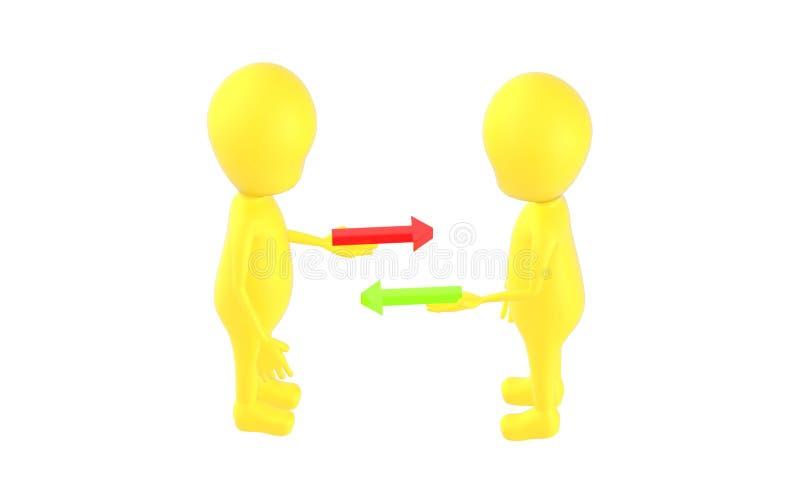 3d gulnar teckenet, tecken som rymmer den röda och gröna pilen på deras händer, båda av dem som står mitt emot vektor illustrationer