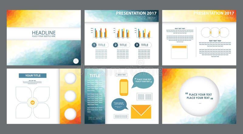 3d gulnar, vit, blåa vektorer för powerpoint presentationsmallar royaltyfri bild