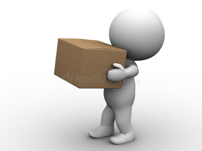 Download 3D Man Carrying Box stock illustration. Image of small - 30275963
