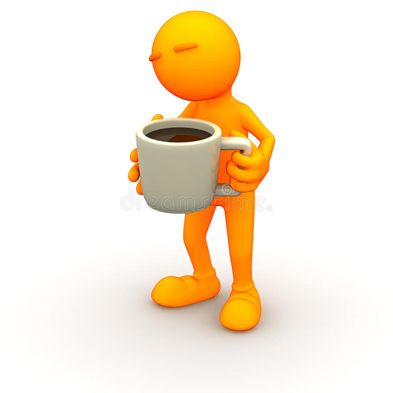 3d Guy: Holding a Huge Cup of Coffee stock illustration