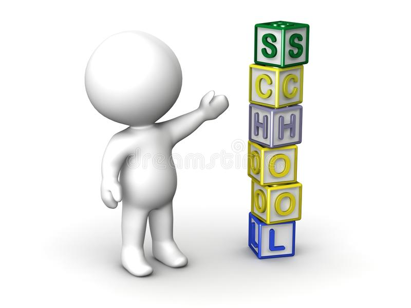 3D Man and Letter Cubes Spelling School. 3d guy showing a stack of cubes spelling School royalty free illustration