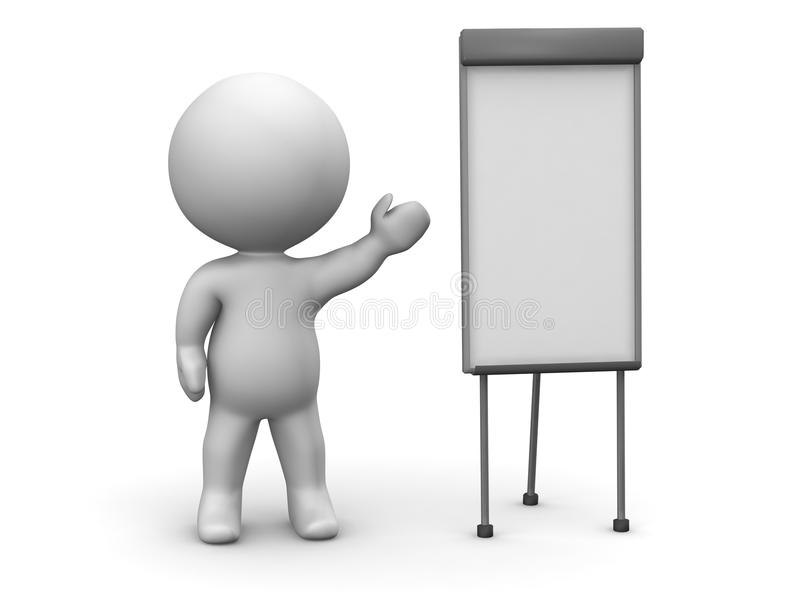3D Man Whiteboard Presentation royalty free illustration