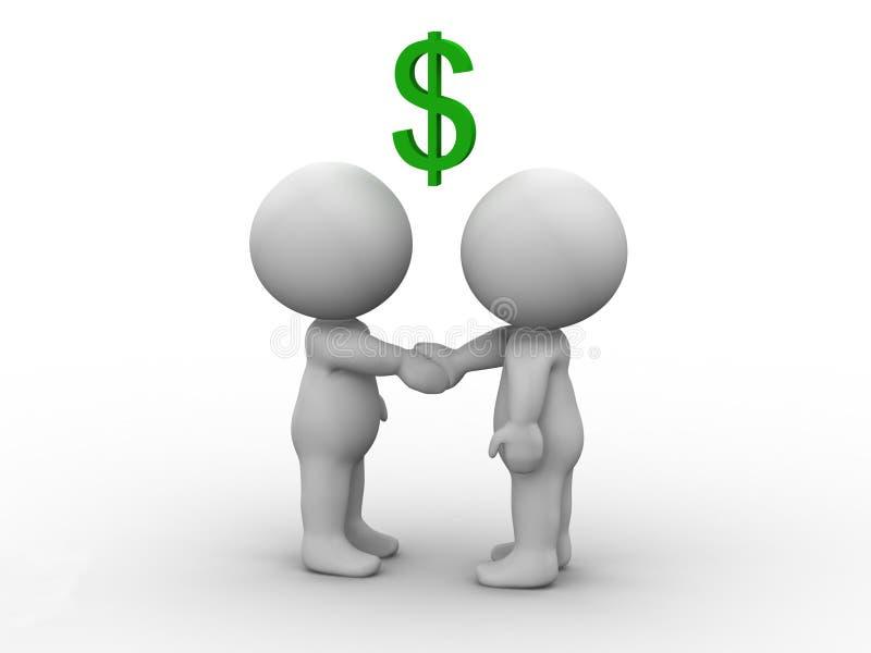 Download 3D Men Shaking Hands And Dollar Sign Stock Illustration - Image: 30276270