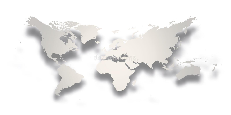 3d härligt dimensionellt diagram värld för illustrationöversikt tre mycket Enkel silvergrå lutningkontur med tappad skugga som is vektor illustrationer