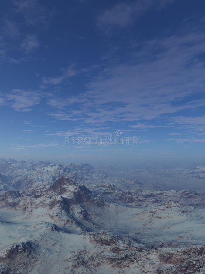 3d ha generato il paesaggio dell'inverno delle montagne del deserto Priorità bassa di Premade illustrazione vettoriale
